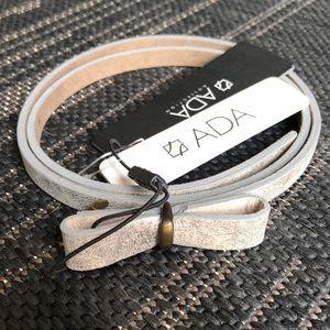 NWT ADA Tiny Bow Metallic Silver / Gold Belt